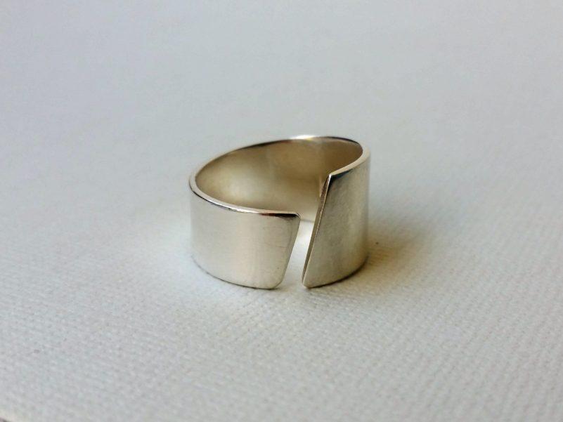 Silverring asymmetrisk minimalistisk